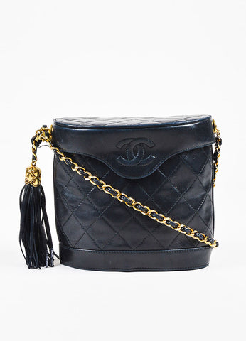 Chanel Black Lambskin Leather Quilted Gold Strap Tassel Bucket Bag Frontview