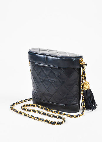 Chanel Black Lambskin Leather Quilted Gold Strap Tassel Bucket Bag Sideview