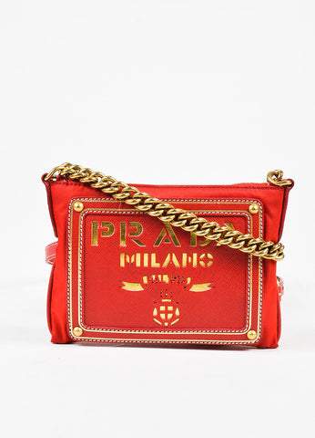 Prada Red Nylon Saffiano Leather Logo Gold Tone Chain Crossbody Bag Frontview