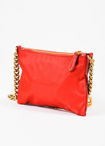 Prada Red Nylon Saffiano Leather Logo Gold Tone Chain Crossbody Bag Sideview