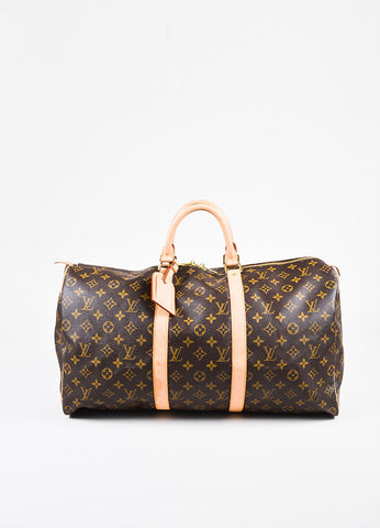 "Louis Vuitton Brown and Beige Coated Canvas and Leather ""Keepall"" 50 CM Duffel Bag Frontview"