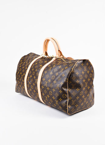 "Louis Vuitton Brown and Beige Coated Canvas and Leather ""Keepall"" 50 CM Duffel Bag Sideview"