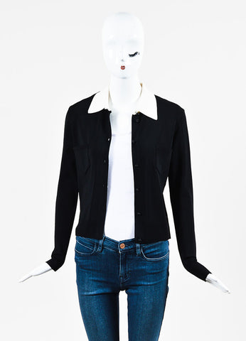 Chanel 02C Black and Cream Stretch Knit Crystal Cardigan Frontview