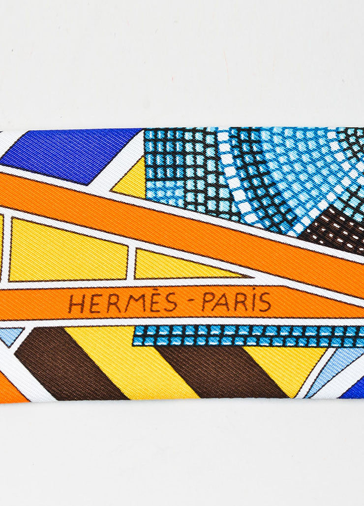 "Hermes ""L'Art Indien Des Plaines"" Multicolor Silk Print Twilly Scarf Brand"