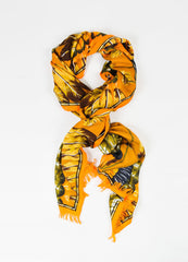 "Hermes ""Brazil"" Brown and Orange Cashmere Silk Knit Feather Print Fringe Scarf Frontview"