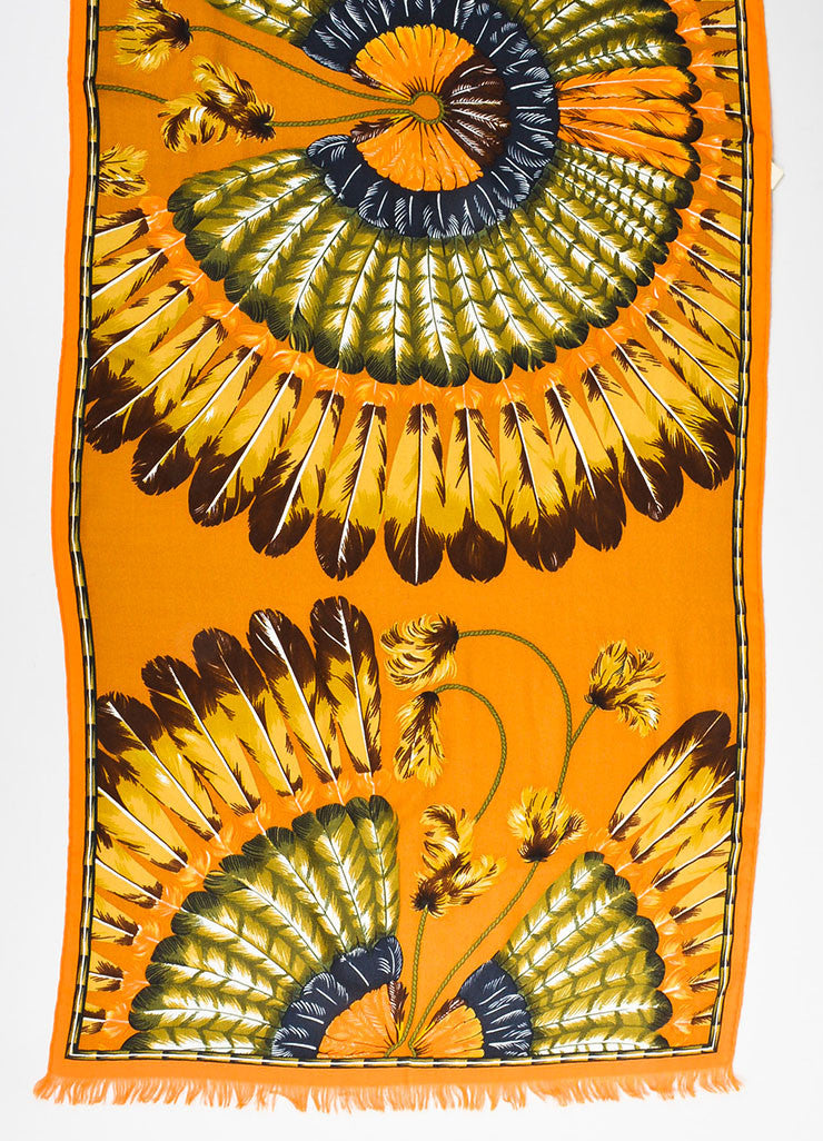 "Hermes ""Brazil"" Brown and Orange Cashmere Silk Knit Feather Print Fringe Scarf Detail"