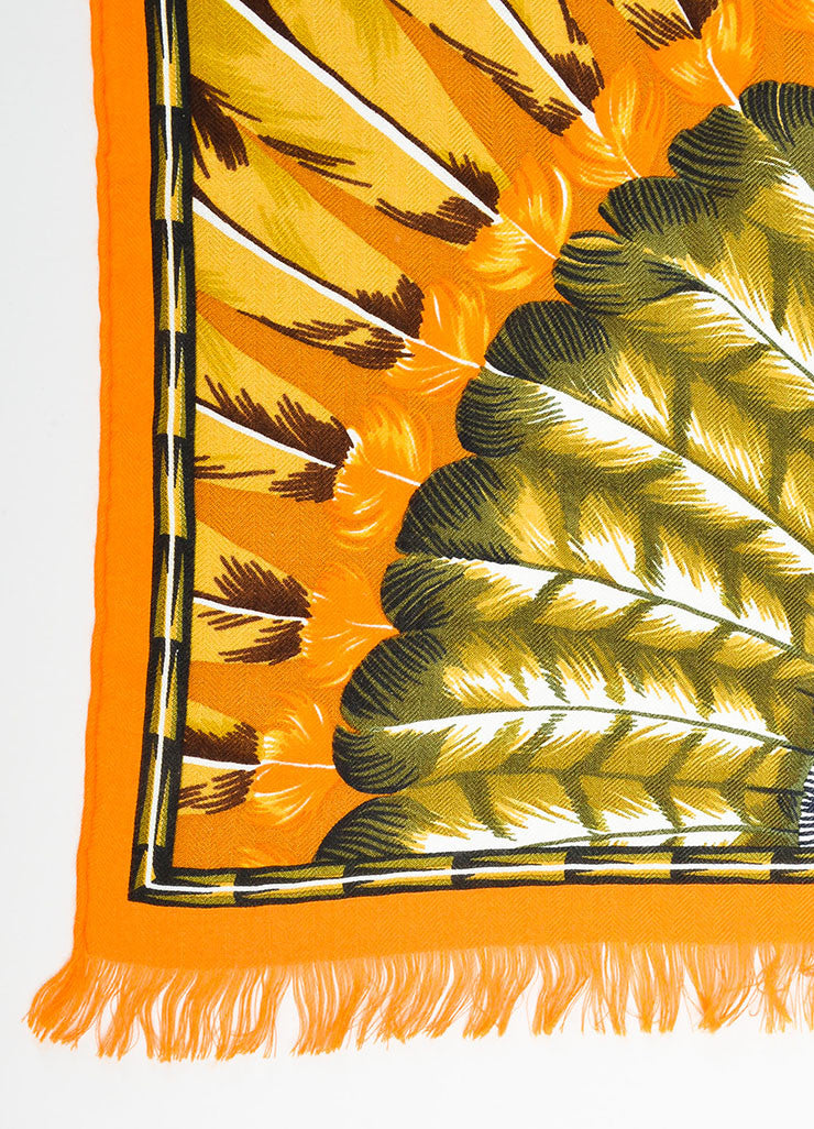 "Hermes ""Brazil"" Brown and Orange Cashmere Silk Knit Feather Print Fringe Scarf Detail 2"