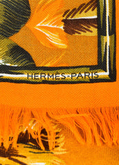 "Hermes ""Brazil"" Brown and Orange Cashmere Silk Knit Feather Print Fringe Scarf Brand"