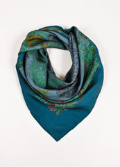 "Hermes Teal Green Multicolor Silk Animal Print ""Jungle Love"" Scarf Frontview"