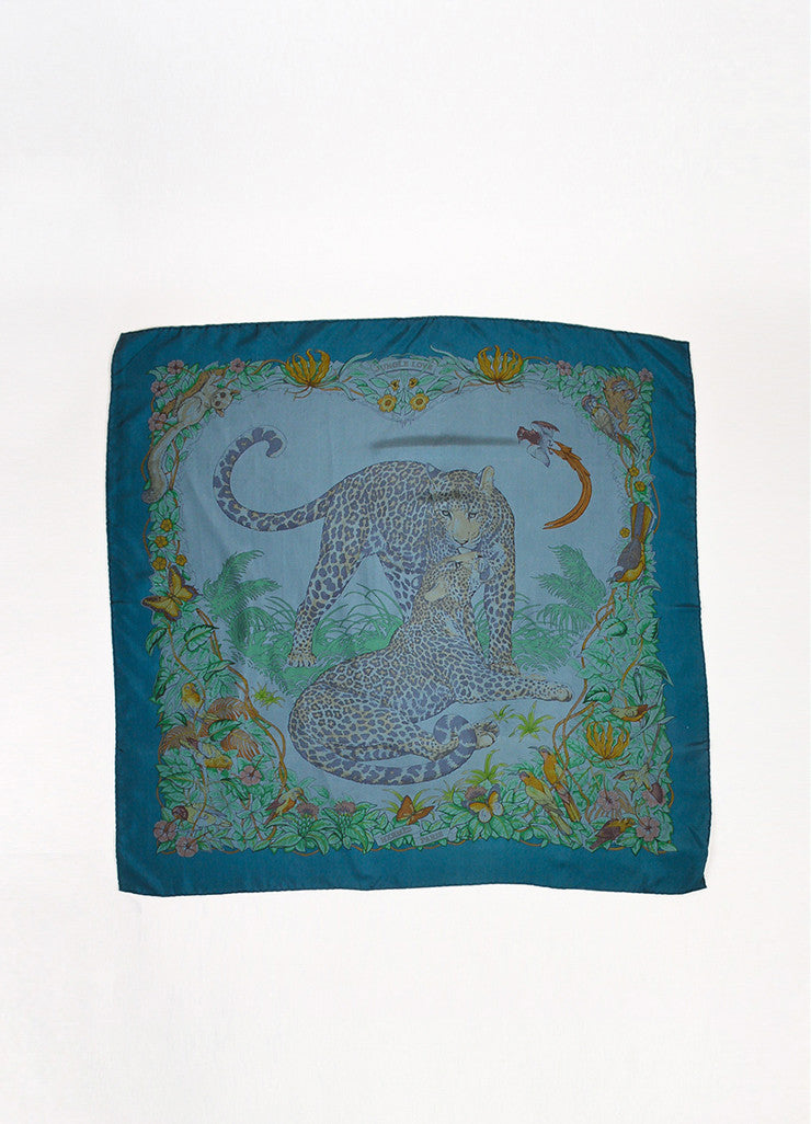 "Hermes Teal Green Multicolor Silk Animal Print ""Jungle Love"" Scarf Frontview 2"