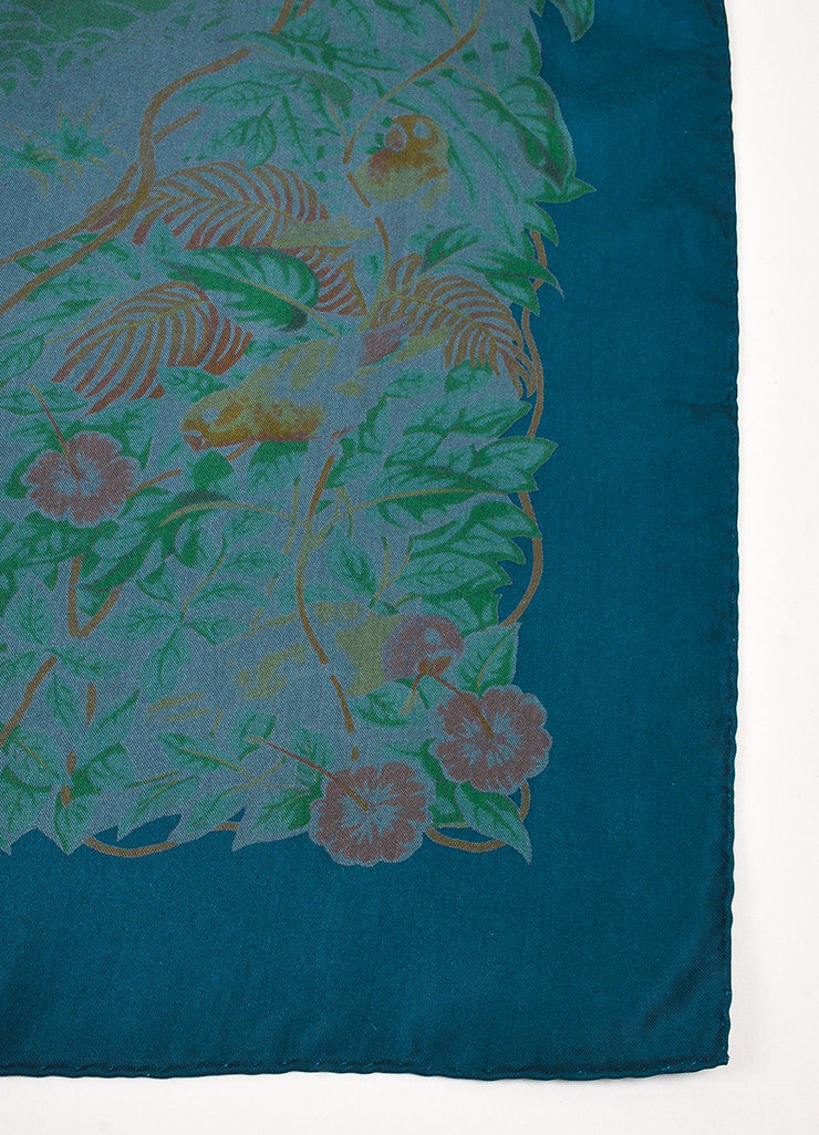 "Hermes Teal Green Multicolor Silk Animal Print ""Jungle Love"" Scarf Detail"