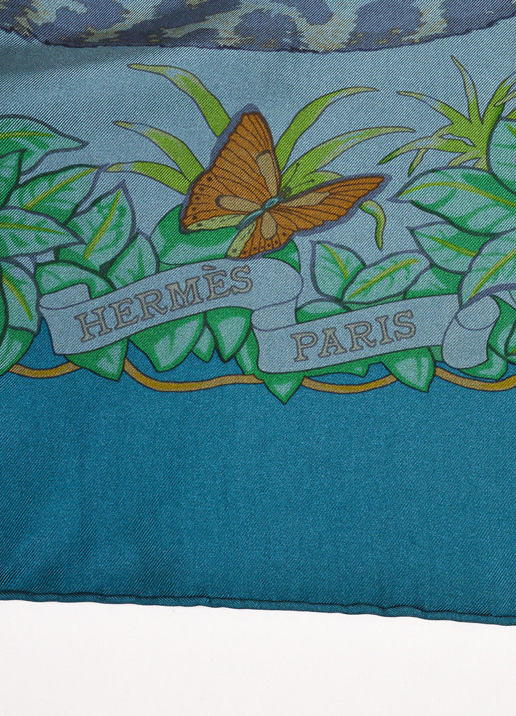 "Hermes Teal Green Multicolor Silk Animal Print ""Jungle Love"" Scarf Brand"