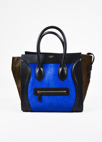 Celine Special Edition Black Leather Blue Brown Calf Hair Mini Luggage Tote Bag Frontview