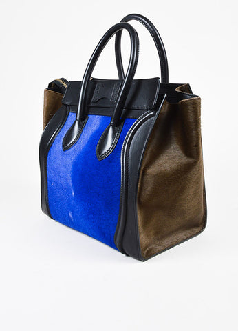 Celine Special Edition Black Leather Blue Brown Calf Hair Mini Luggage Tote Bag Sideview