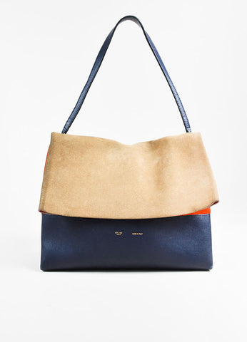 "Celine  ""All Soft"" Navy Leather Orange Beige Suede Tricolor Shoulder Bag Frontview"