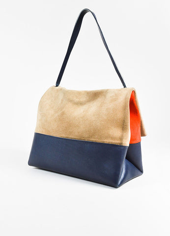 "Celine  ""All Soft"" Navy Leather Orange Beige Suede Tricolor Shoulder Bag Sideview"