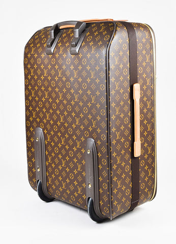 "Louis Vuitton ""Pegase 65"" Brown Coated Canvas Leather Monogram  Luggage Sideview"