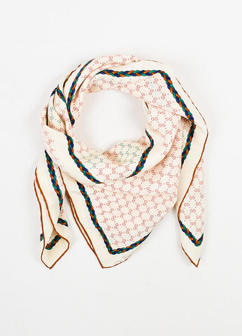 Beige, Green and Navy Gucci Braid Print Monogram Square Scarf Front