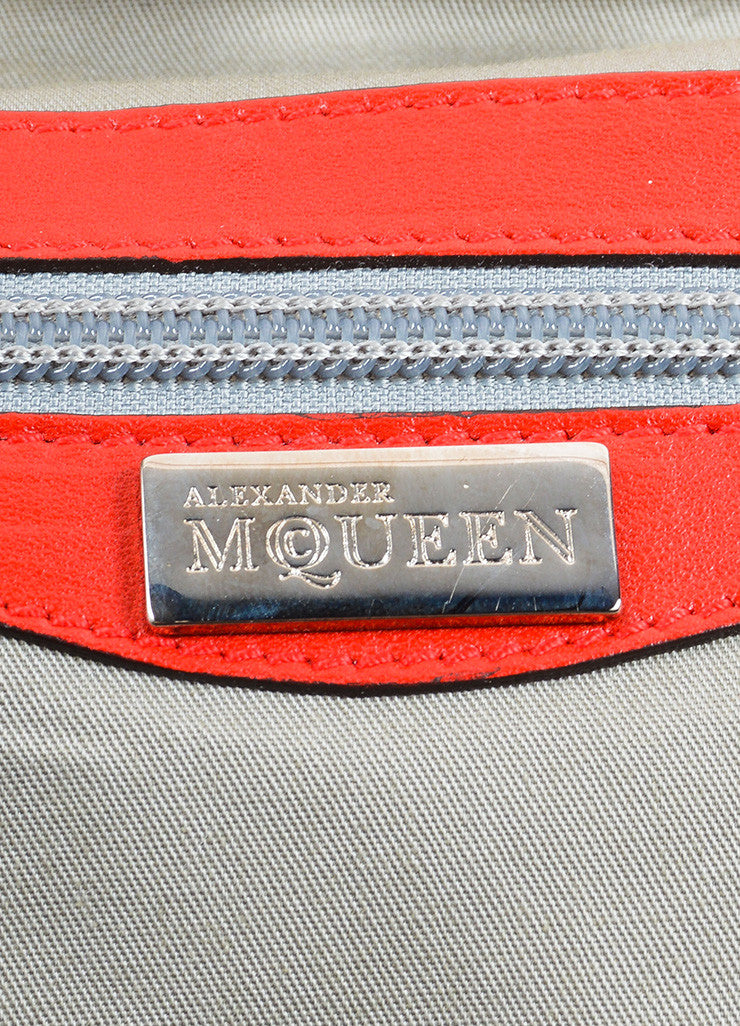"Alexander McQueen Red Patent Leather ""Elvie"" Frame Handle Bag Brand"