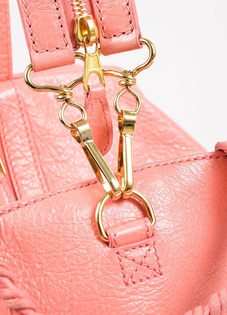 "¥éËBalenciaga Coral Pink Leather ""Giant 12 Traveller"" Convertible Backpack Detail 3"