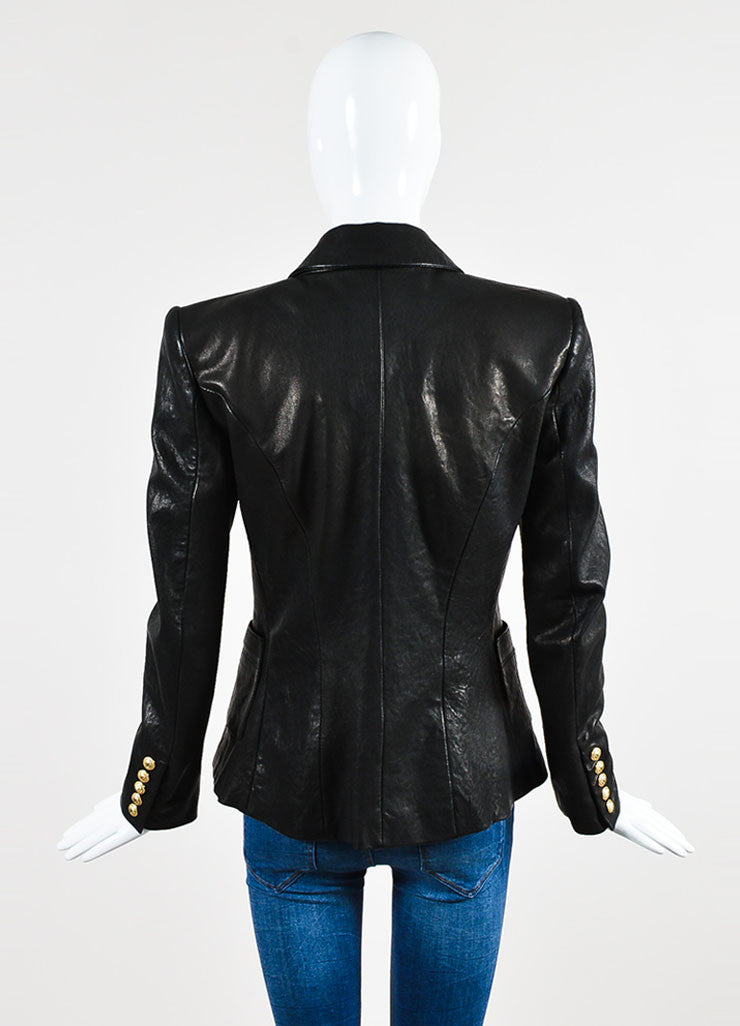 Balmain Black Lambskin Leather Lion Medallion Button Structured Blazer Backview