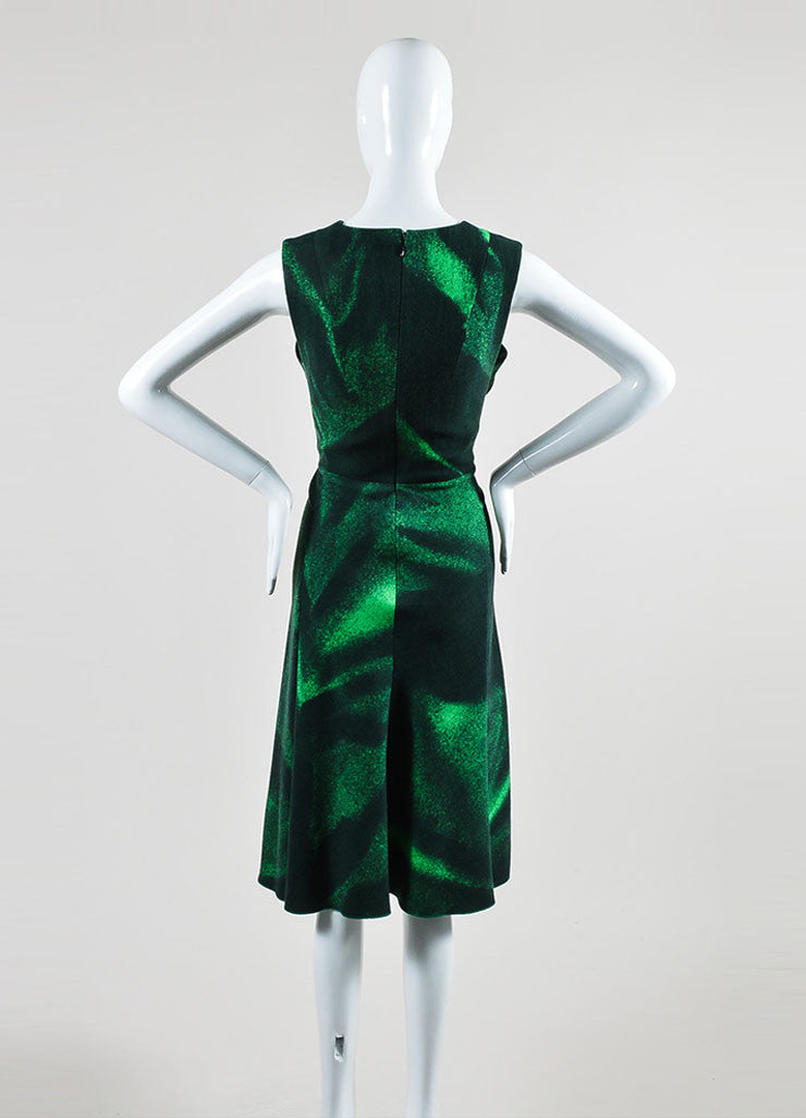 Bottega Veneta Green Wool Printed V Neck Sleeveless Dress Backview