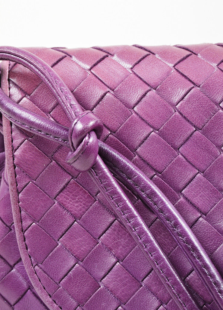Purple Bottega Veneta Leather Intrecciato Knot Strap Crossbody Bag Detail 2