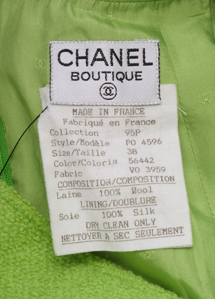 Chanel Lime Green Wool Boucle High Waisted Pencil Skirt Brand