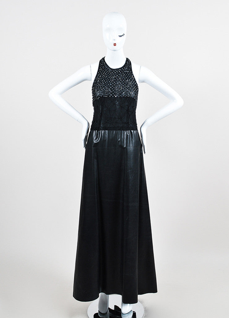 Black Mesh Leather Strappy Rhinestone Embellished Sleeveless Dress Gown Frontview