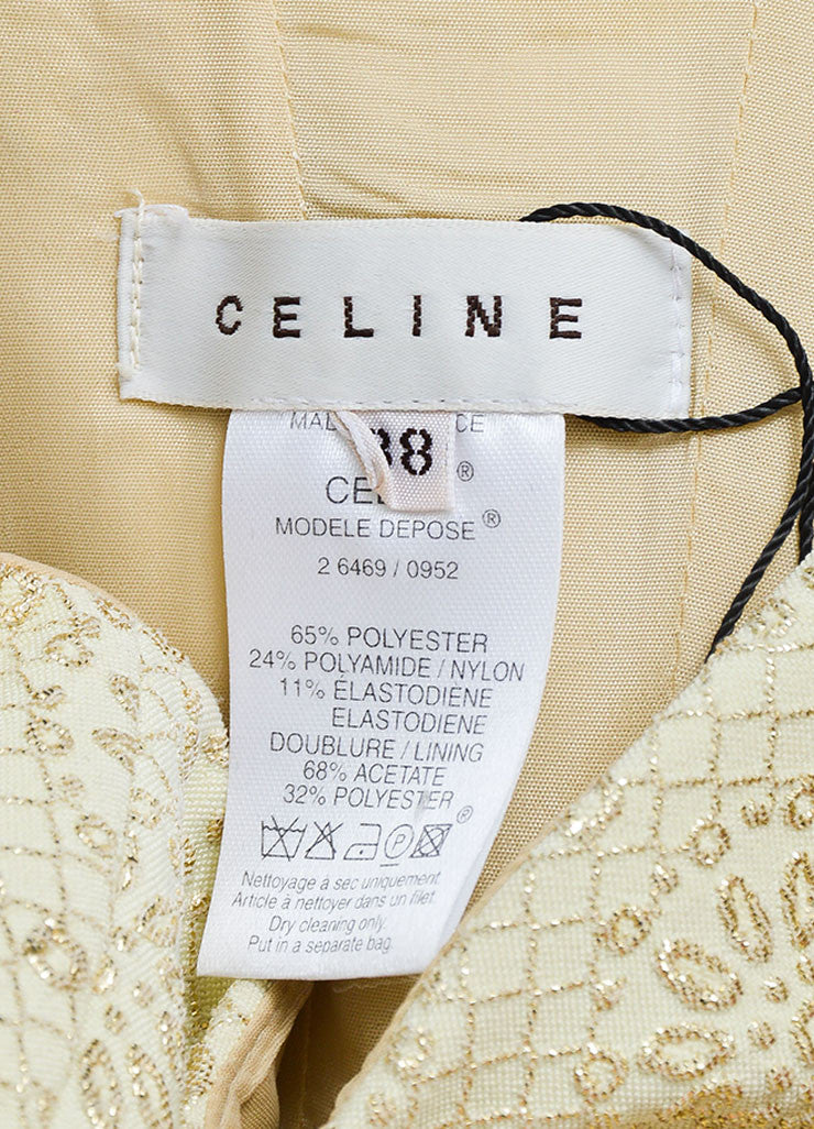 Cream and Gold Toned  Metallic Brocade Celine Strapless Dress Brand
