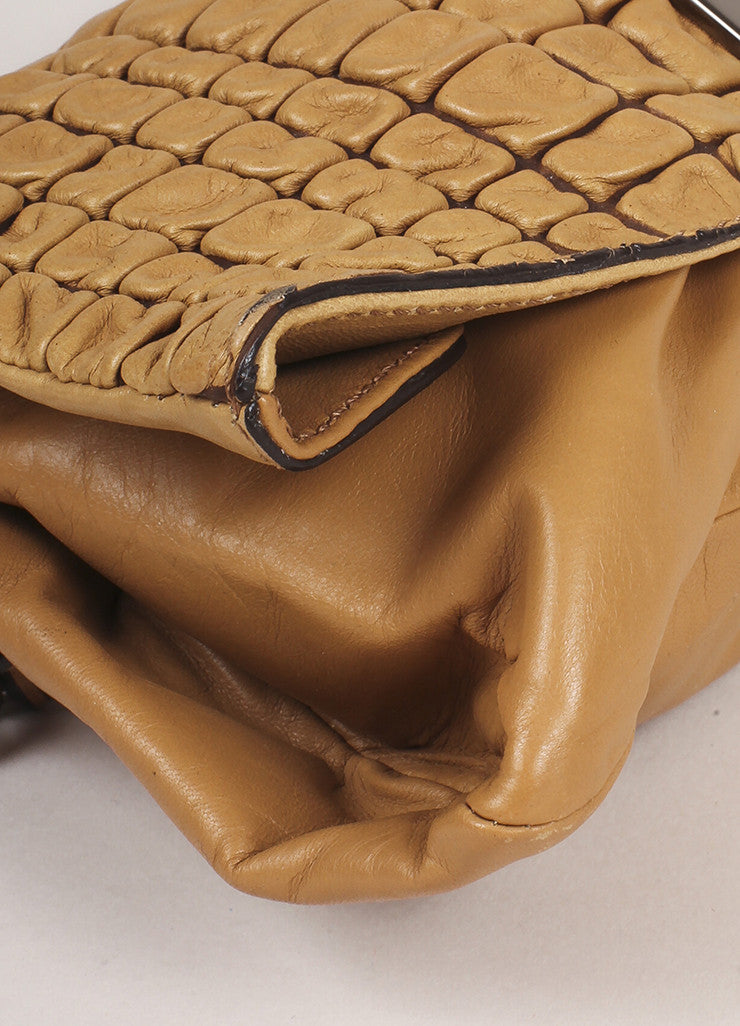 Celine Tan Quilted Leather Shoulder Flap Bag Detail