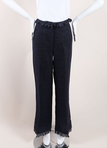 Chanel Dark Blue Linen High Waisted Lace Trim Flared Pants Frontview