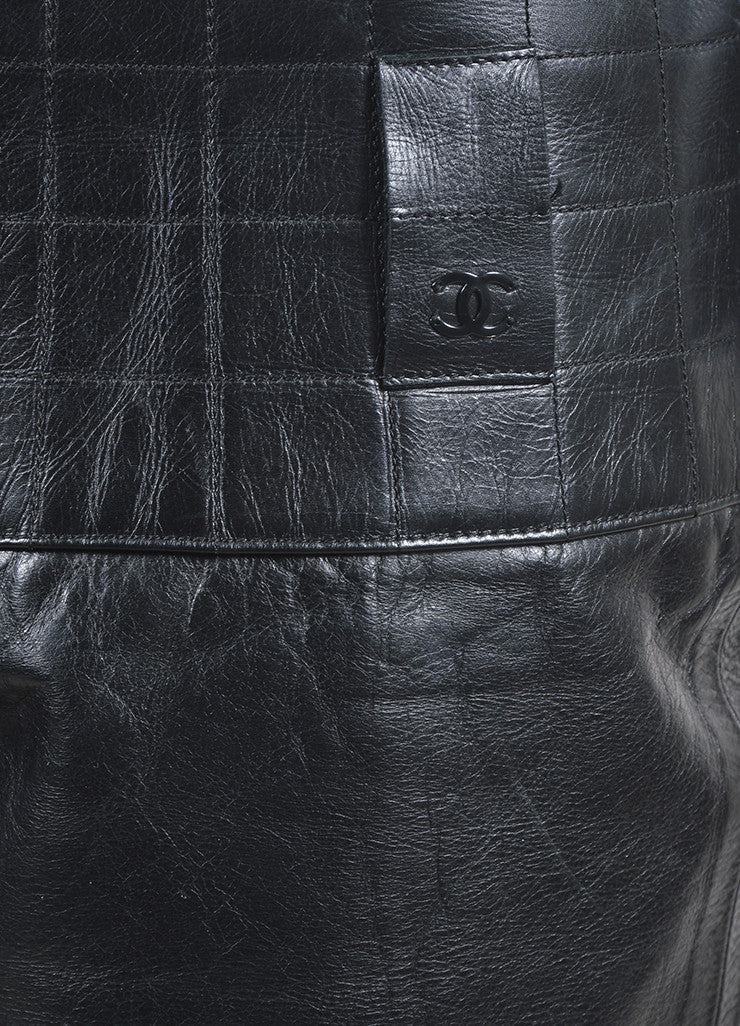 Black Chanel Leather Quilted Waist Boot Leg Pants Detail