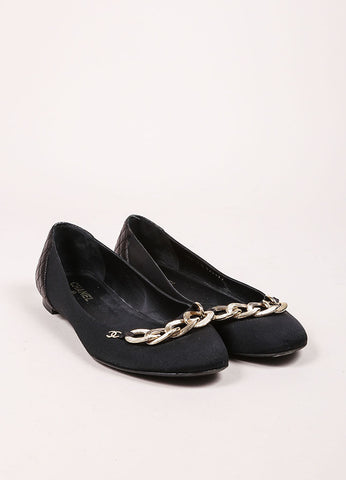 "Chanel Black and Gold Toned Chain ""CC"" Detail Flats Frontview"