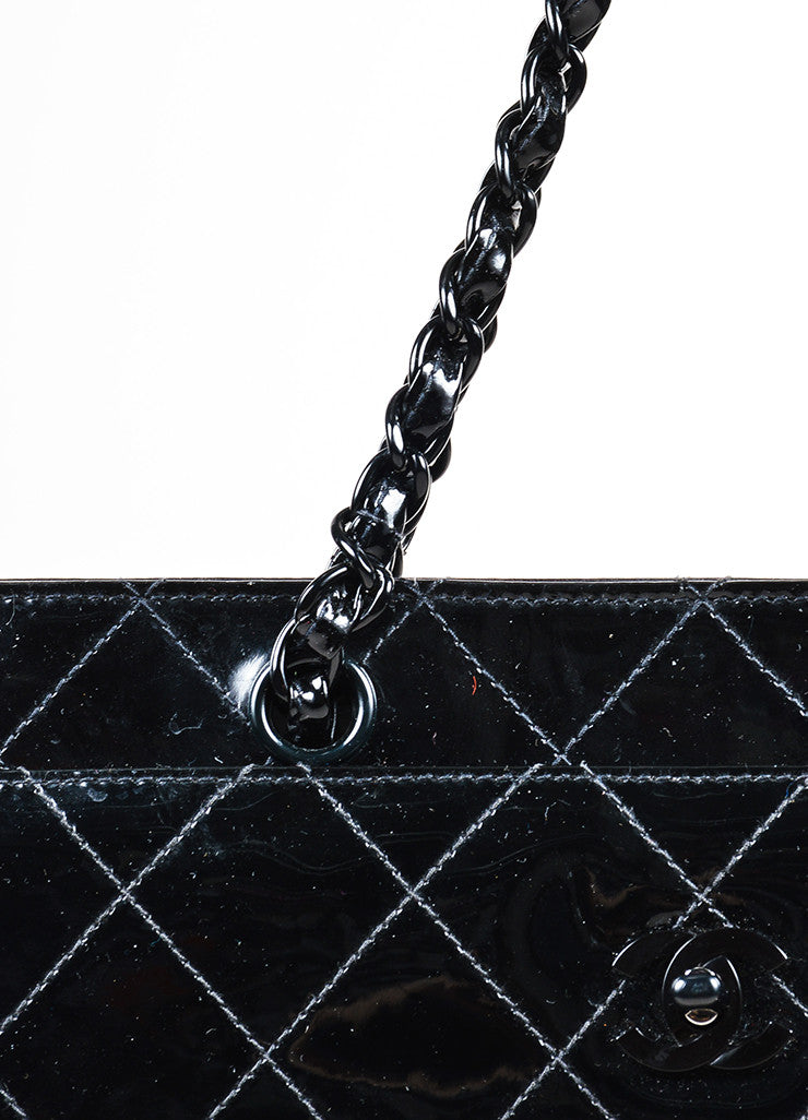Black Chanel Patent Leather Quilted Square Shopper Tote Bag Detail 2