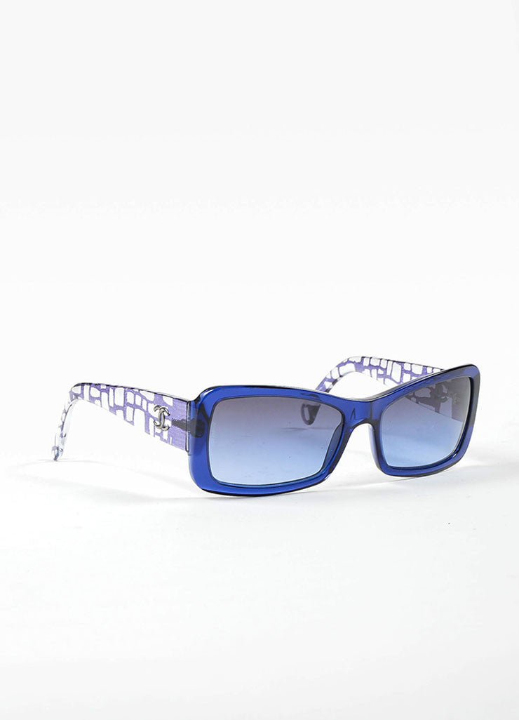 Blue and Clear Chanel Cracked Print Square Gray Ombre Lens Sunglasses Sideview