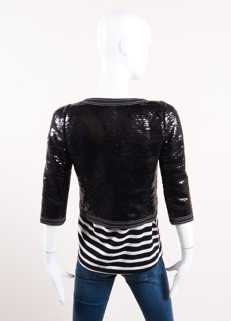 Chanel New With Tags Black Sequin Embellished Cropped Zip Jacket Backview