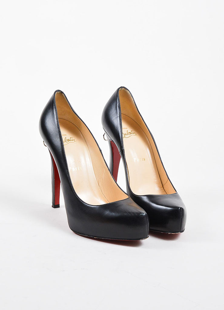"Christian Louboutin Black Leather ""Roland Zip 120"" Platform Pumps Frontview"