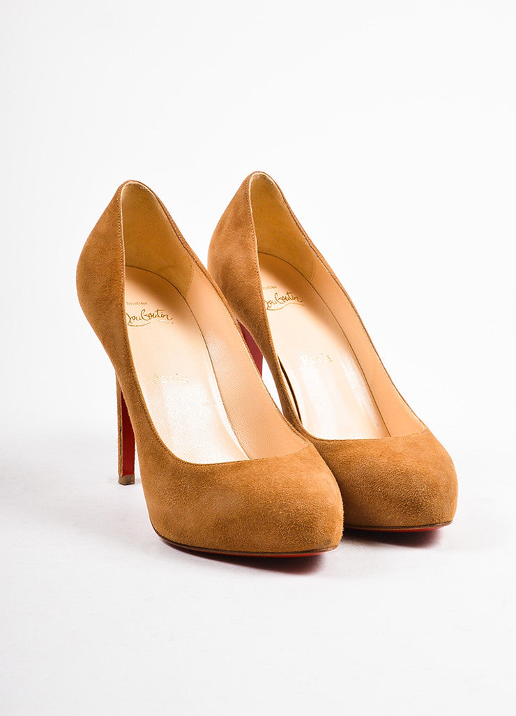 "Christian Louboutin Camel Suede ""New Declic 120"" Pumps Frontview"