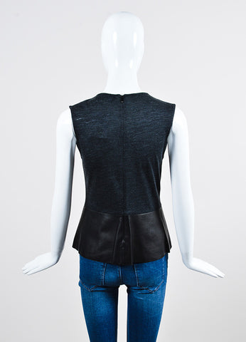 Black and Grey Derek Lam Leather Knit Paneled Top Back