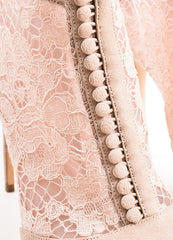"Dolce & Gabbana Dusty Pink Suede Lace ""Keira"" Peep Toe Booties Detail"