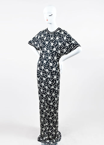 Black and White Emanuel Ungaro Floral Polka Dot Short Sleeve Maxi Dress Sideview