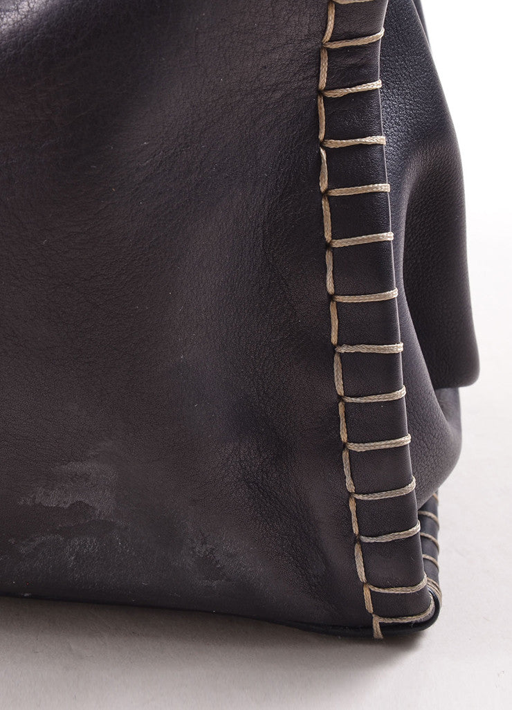 "Fendi Navy Blue Leather ""Firenze"" Frame Tote Bag Detail"