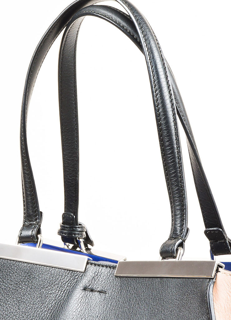 "Fendi Black, Pale Pink, and Blue Leather Color Block Medium ""3 Jours"" Satchel Detail 2"