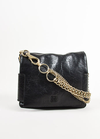 Givenchy Black Leather Gold Toned Multi Chain Strap Shoulder Bag Frontview