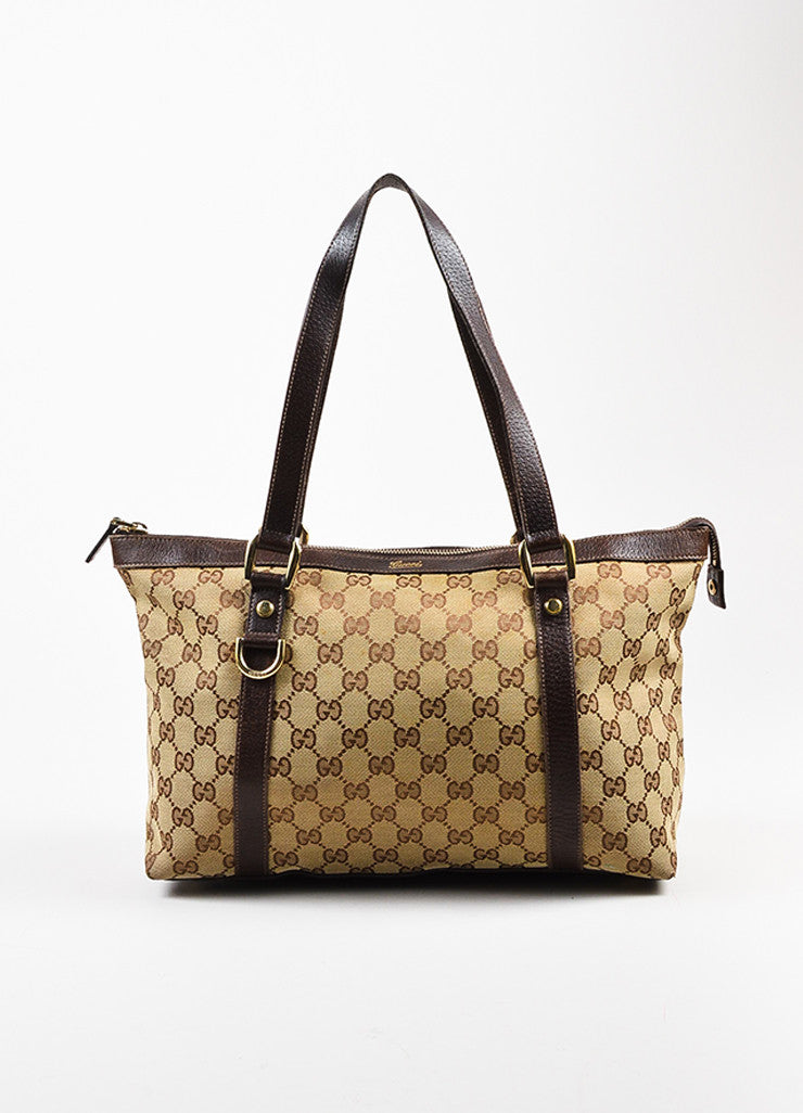 "Gucci Beige and Brown Canvas Leather Trim Medium ""Abbey"" Tote Bag Frontview"