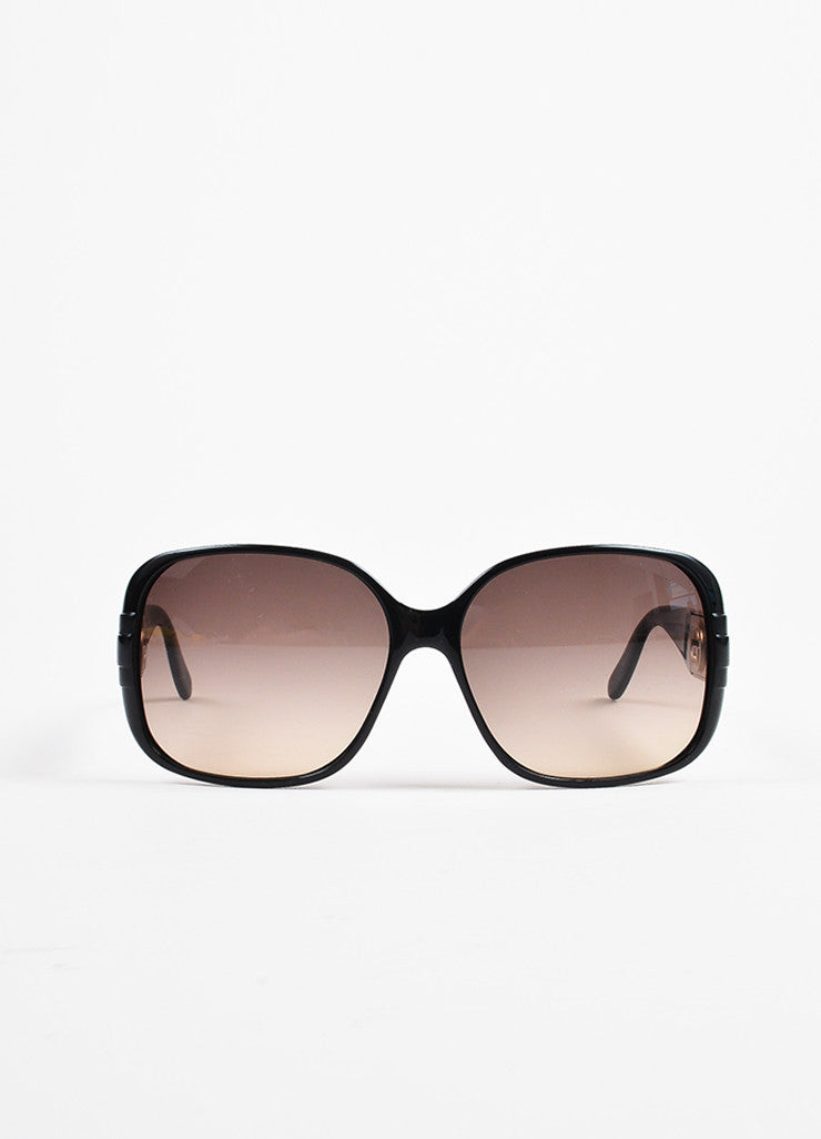Gucci Black Gold Tone 'GG' Logo Oversized Sunglasses Front 2