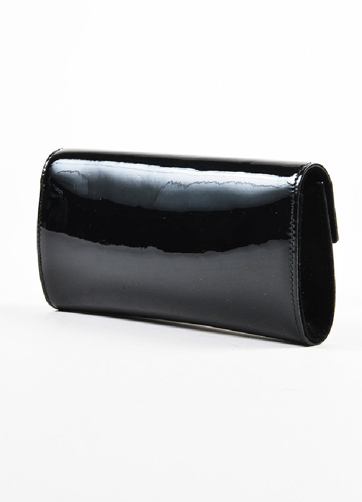 Gucci Black Patent Leather Oversized Gem Clutch Bag Sideview