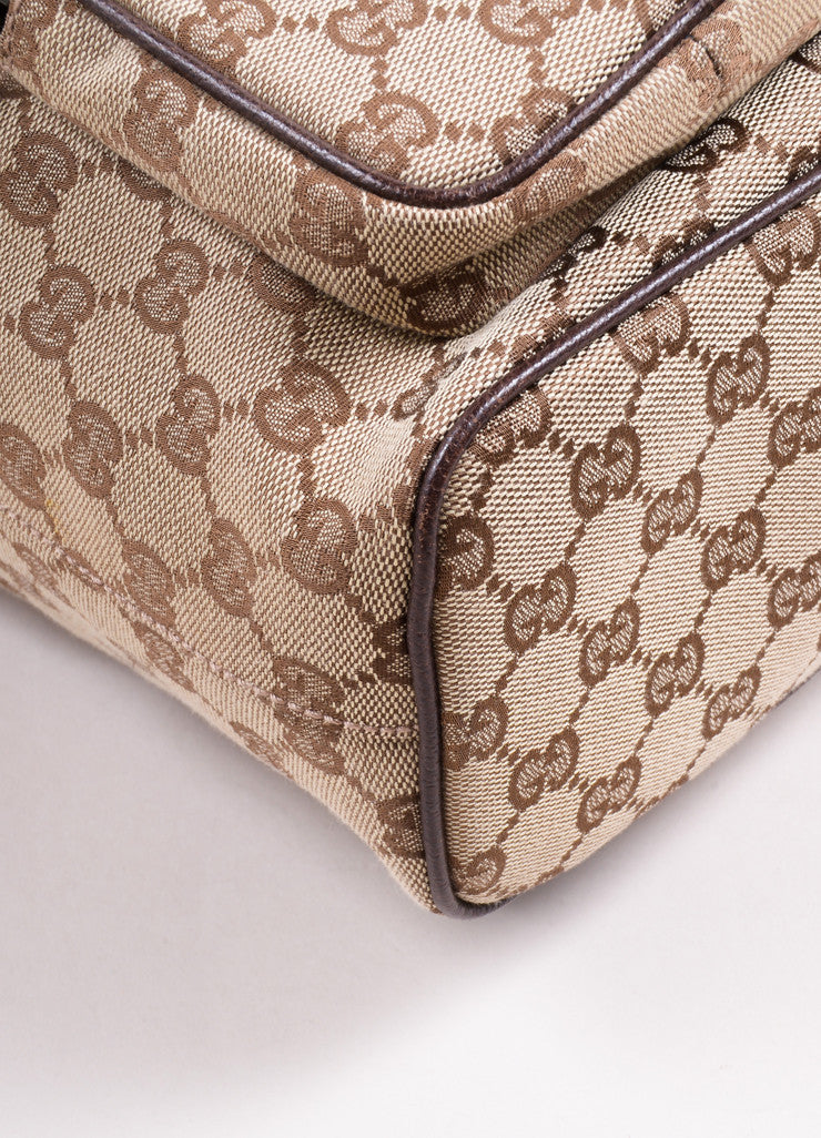 "Gucci Brown ""GG"" Monogram Canvas Backpack Detail"