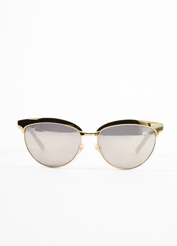 Gucci Gold Toned and Grey Mirrored Cat Eye Sunglasses Frontview